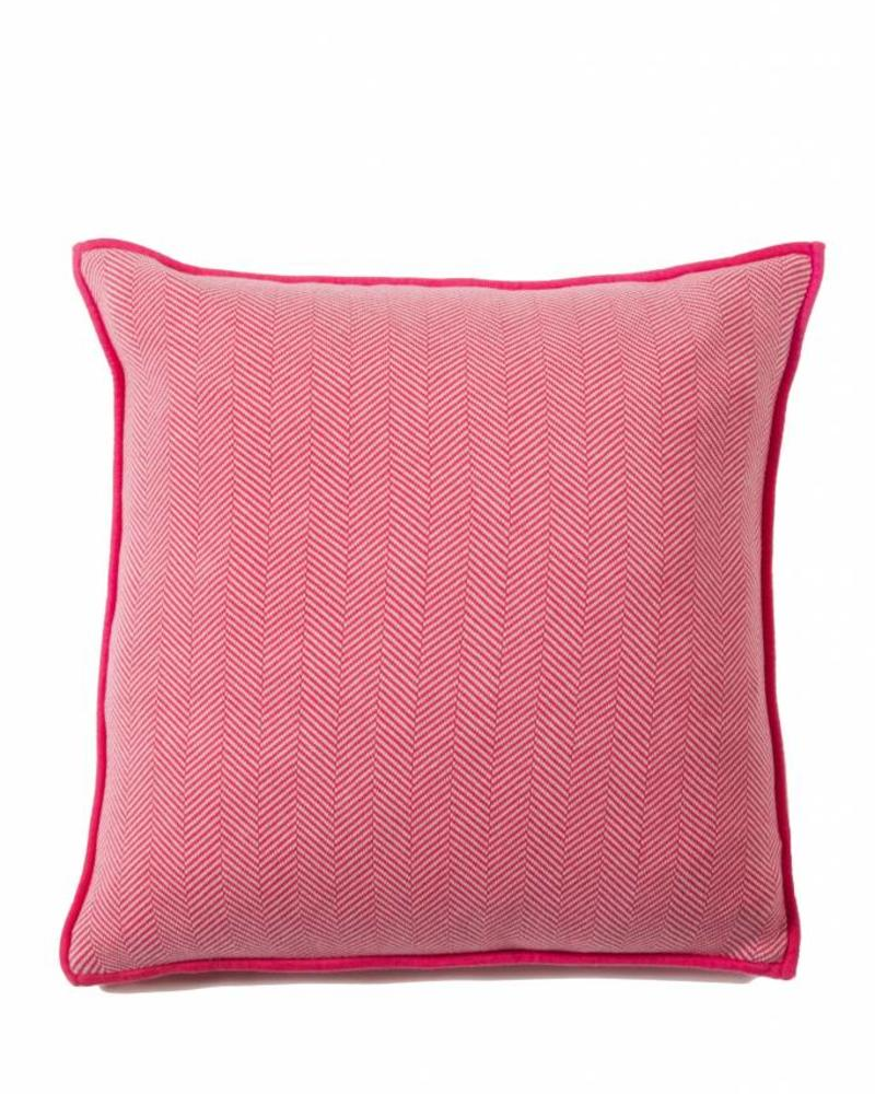 "HENRY HERRINGBONE PILLOW: 100% COTTON: 21"" X 21"": FUCHSIA-IVORY"