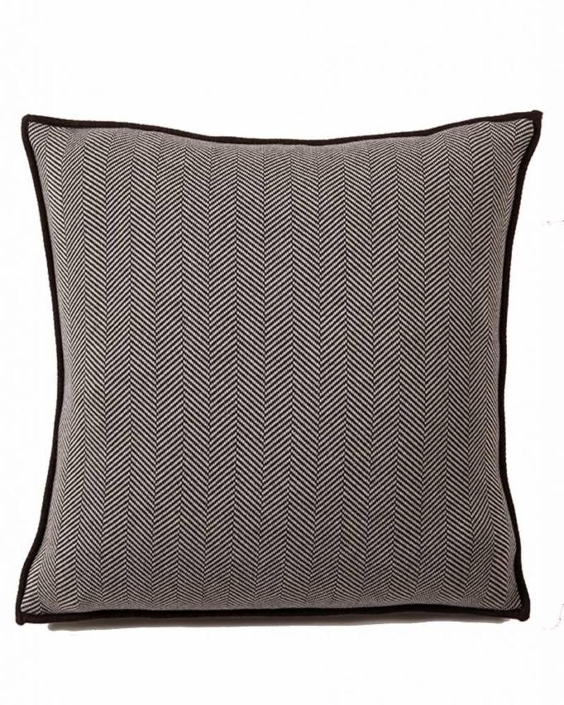 "HENRY HERRINGBONE PILLOW: 100% COTTON: 21"" X 21"": ANTHRACITE-BEIGE"