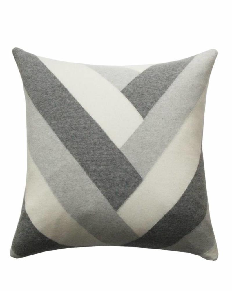 "V PILLOW: 24"" X 24"": PEARL-IVORY-GRAY"