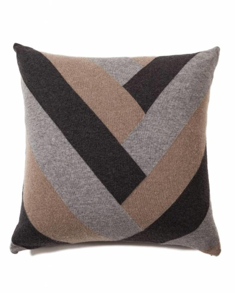 "V PILLOW: 24"" X 24"": GRAY TONES"