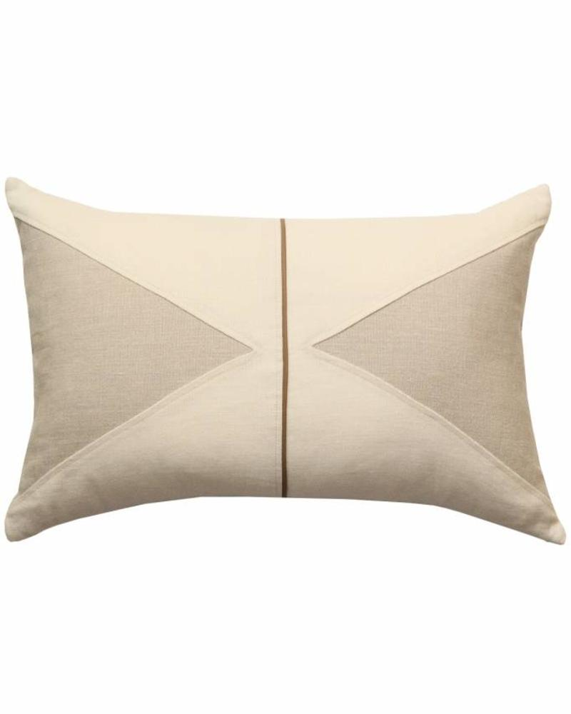 "POSITANO LINEN ASYMETRICAL PILLOW WITH LEATHER PIPING: 16"" X 24"": IVORY-BEIGE"