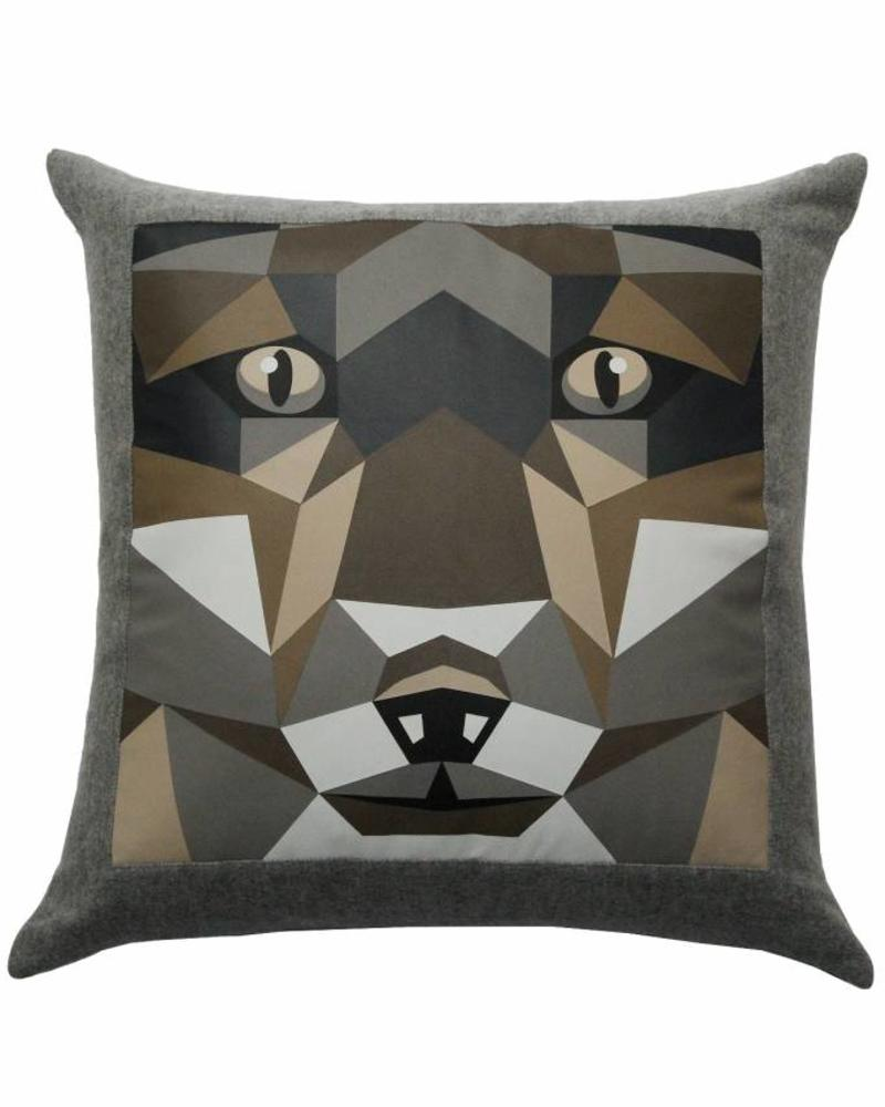 "LUPO WOOL-LEATHER PILLOW: 22"" X 22"": GRAY"