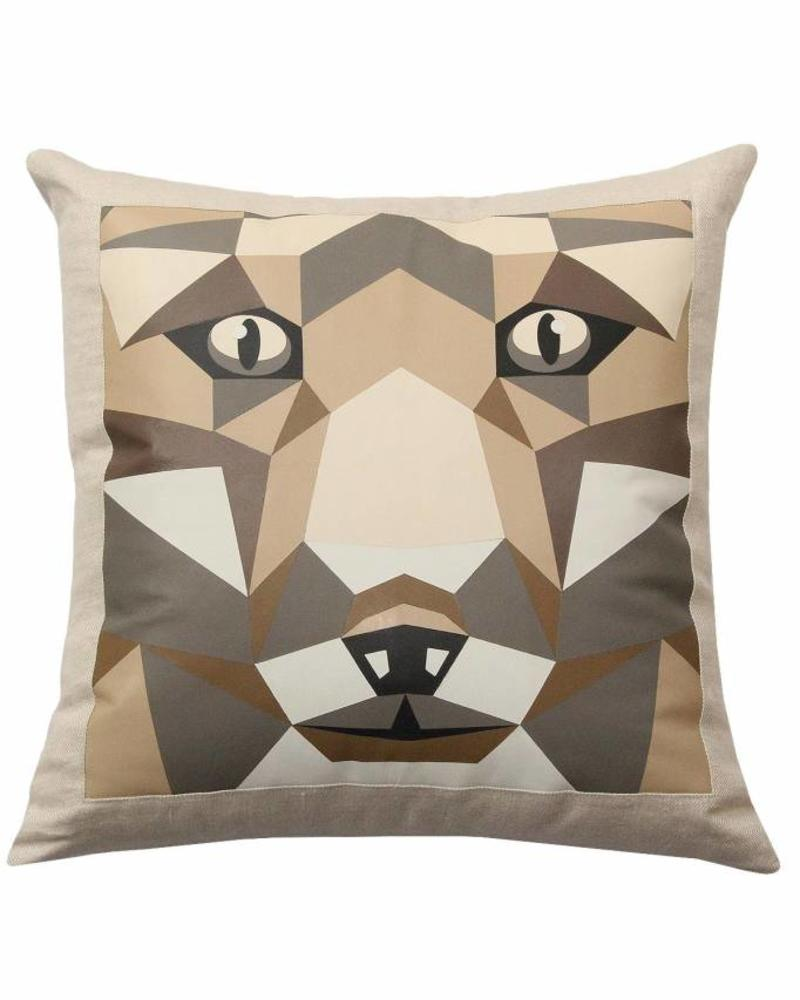 "LUPO LINEN-LEATHER PILLOW: 22"" X 22"": BEIGE"