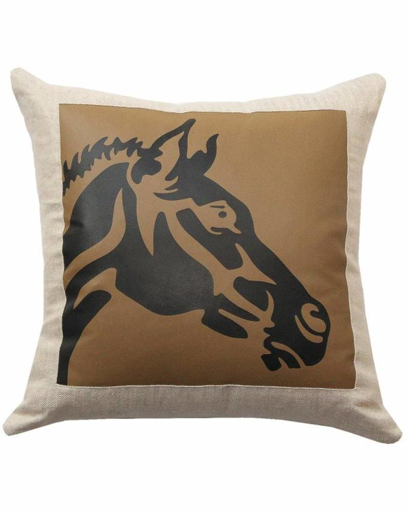 "HORSE LINEN-LEATHER PILLOW: 21"" X 21"": BEIGE"