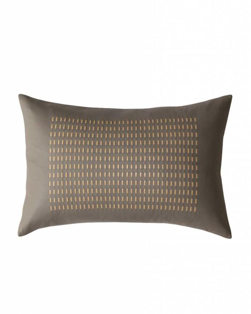 "DUKE LEATHER BRAIDED PILLOW: 12"" X 18"": GRAY-SAND"