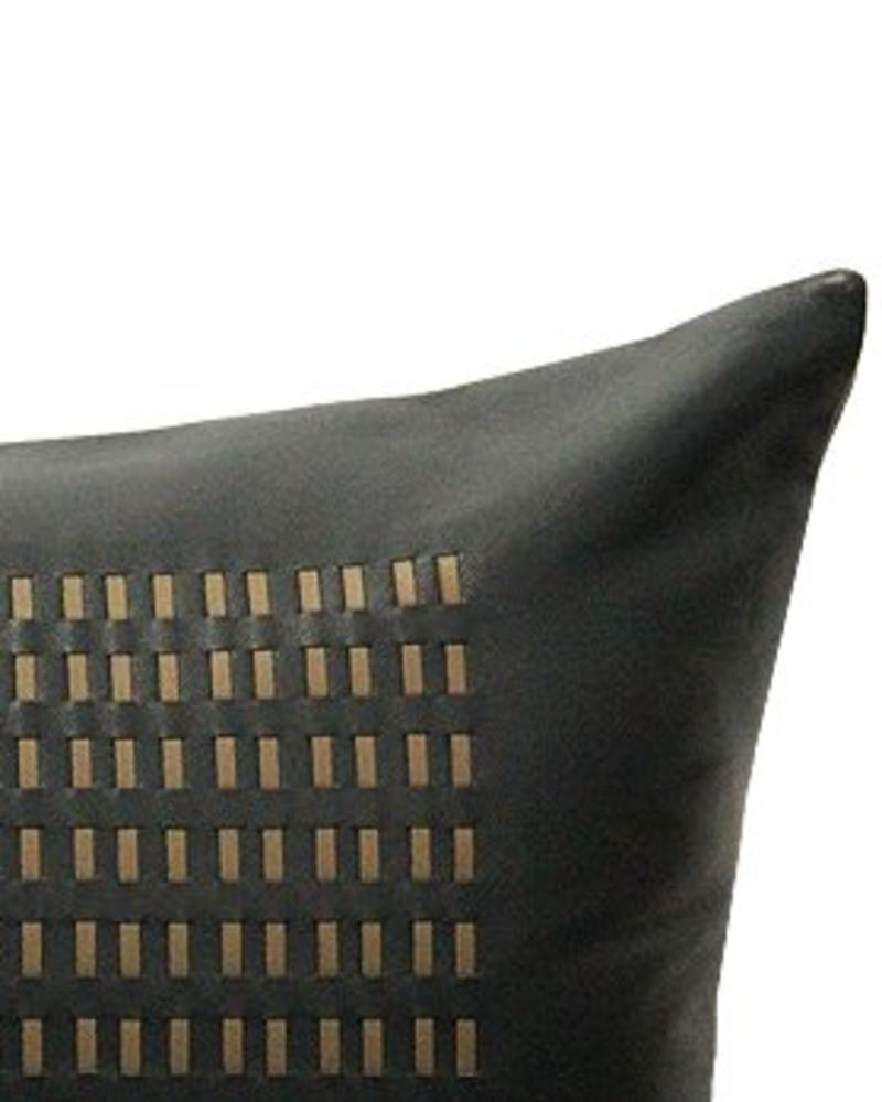 "DUKE LEATHER BRAIDED PILLOW: 12"" X 18"": CHARCOAL-BEIGE"
