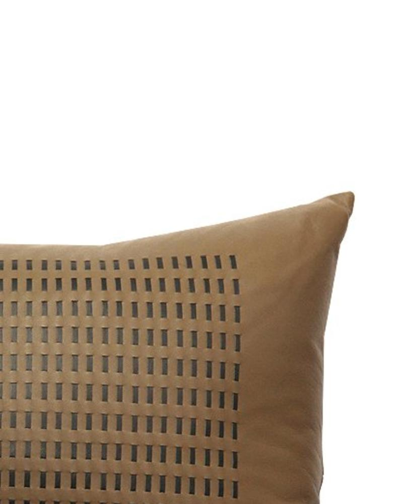 "DUKE LEATHER BRAIDED PILLOW: 12"" X 18"": BEIGE-CHARCOAL"