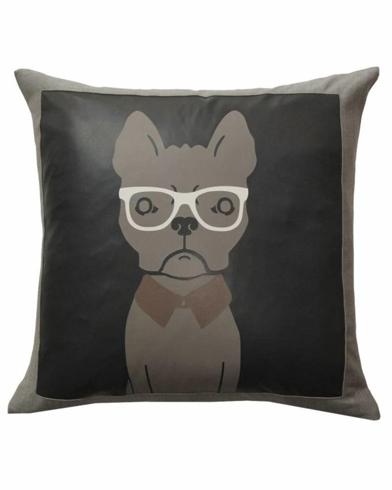 "DREAM BIG PILLOW WOOL-LEATHER: 21"" X 21"": CHARCOAL"