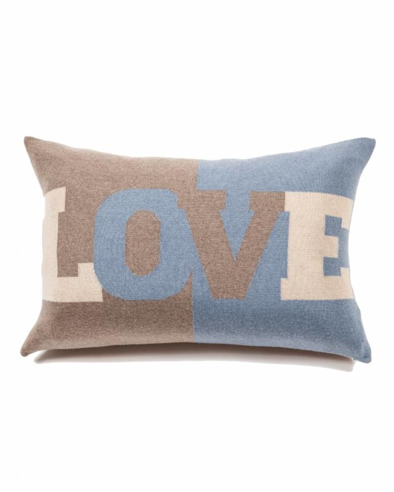 "LOVE PILLOW: CASHMERE BLEND: 16"" X 24"": TAUPE-AZURE-SAND"