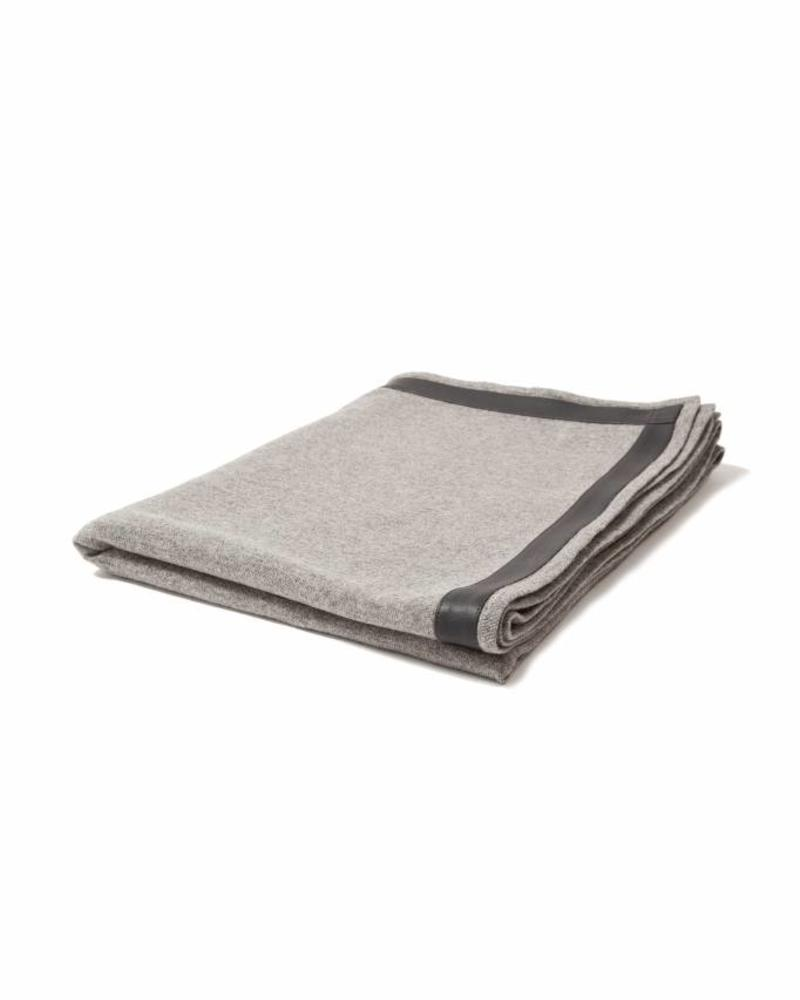 "SARDINIA CASHMERE THROW WITH LEATHER BORDER: 50"" X 70"": GRAY"