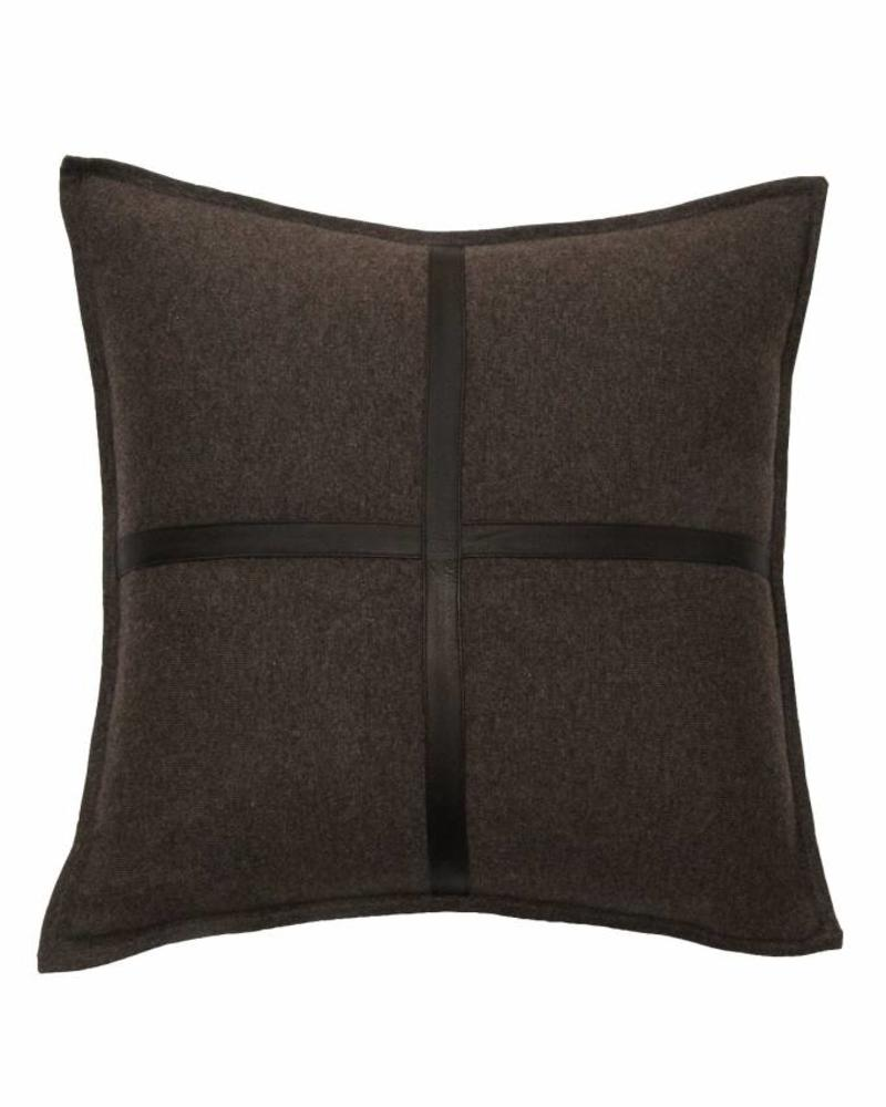 "SARDINIA CASHMERE LEATHER PILLOW: 21"" X 21"": CHOCOLATE"