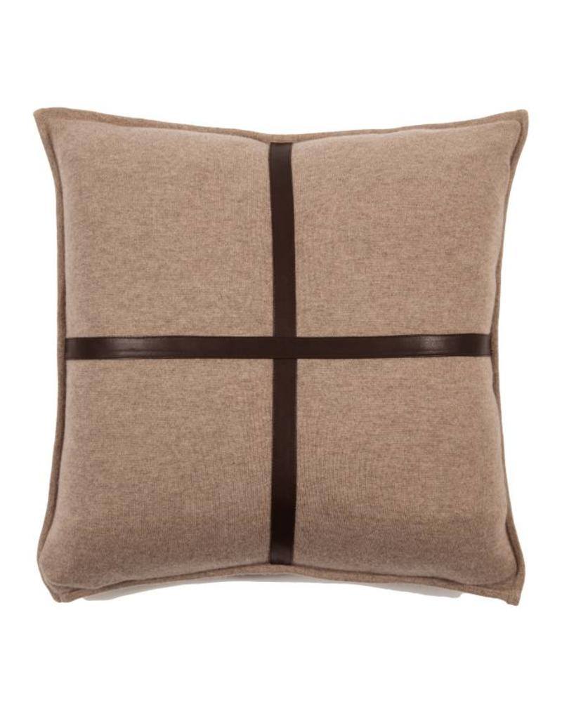 "SARDINIA CASHMERE LEATHER PILLOW: 21"" X 21"": BROWN"