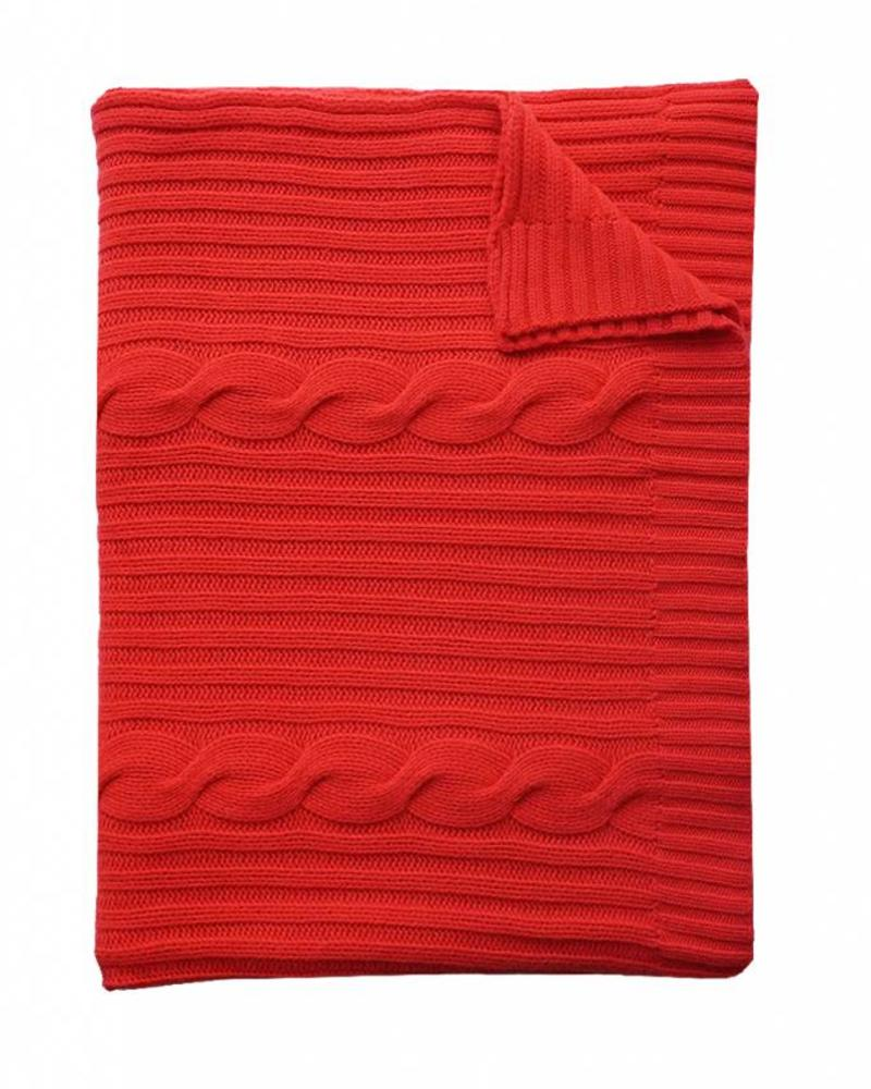 "CASHMERE ROMA CABLE KNIT THROW: 50"" X 72"": RED"