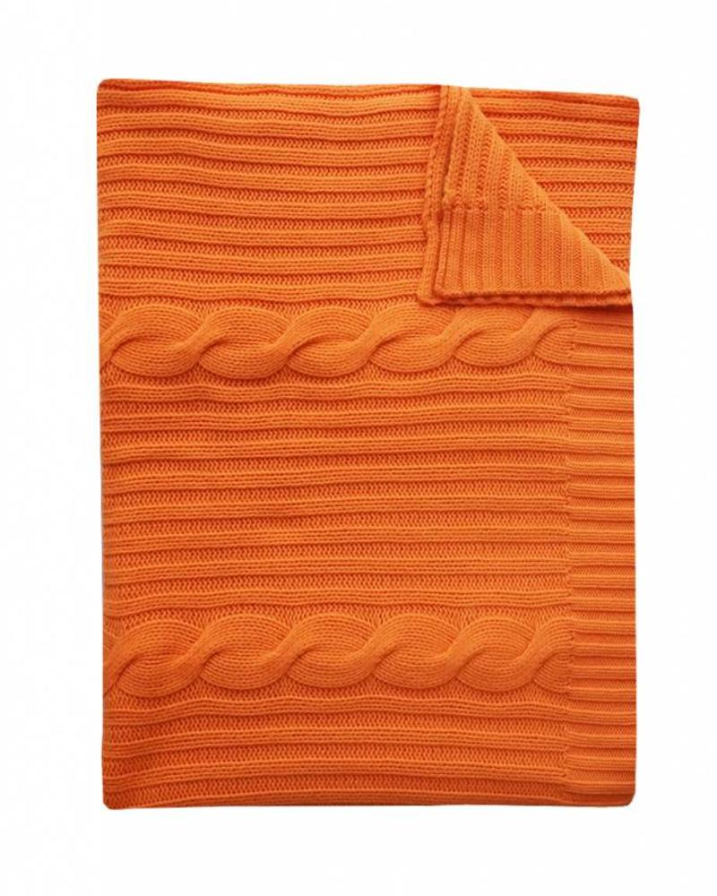 "CASHMERE ROMA CABLE KNIT THROW: 50"" X 72"": ORANGE"