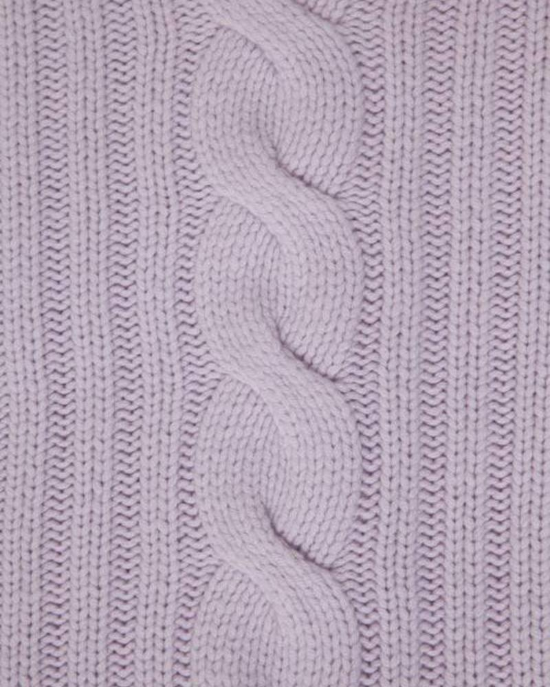"""CASHMERE ROMA CABLE KNIT THROW: 50"""" X 72"""": LILAC"""