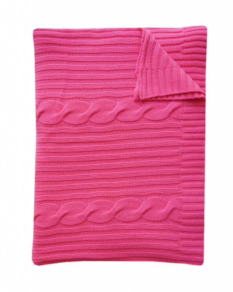 "CASHMERE ROMA CABLE KNIT THROW: 50"" X 72"": FUCHSIA"