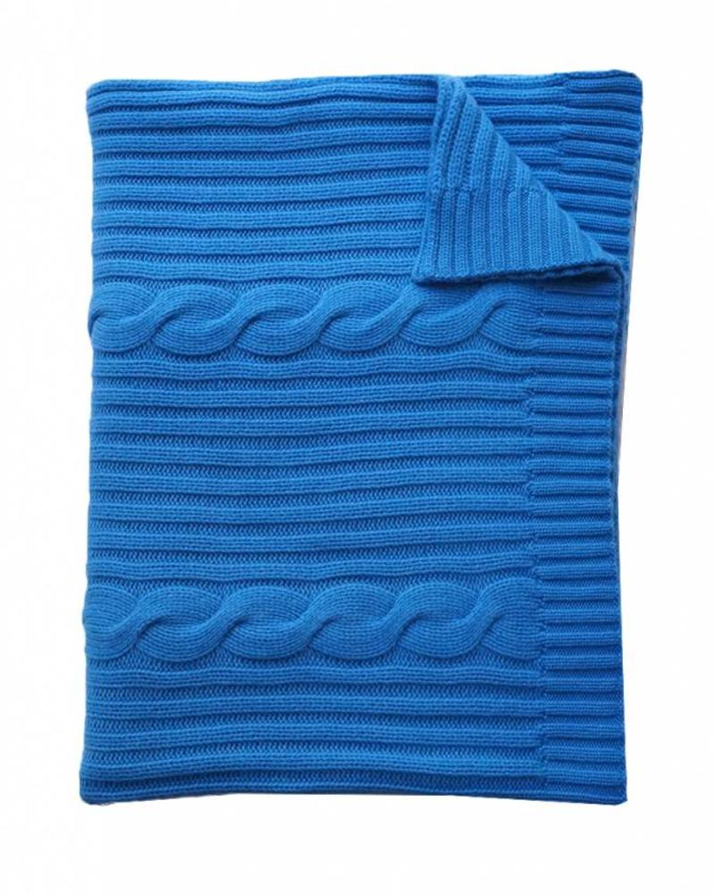 "CASHMERE ROMA CABLE KNIT THROW: 50"" X 72"": PARISIAN BLUE"