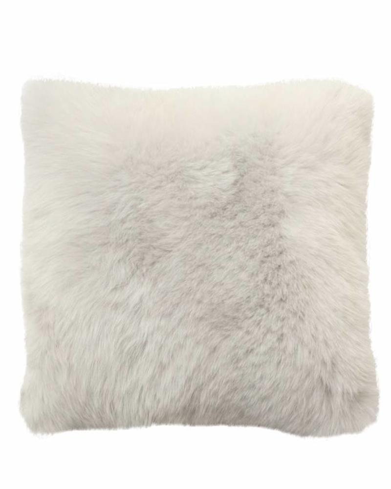 """CASHMERE PILLOW WITH FUR: 17"""" X 17"""": PEARL-GRAY"""