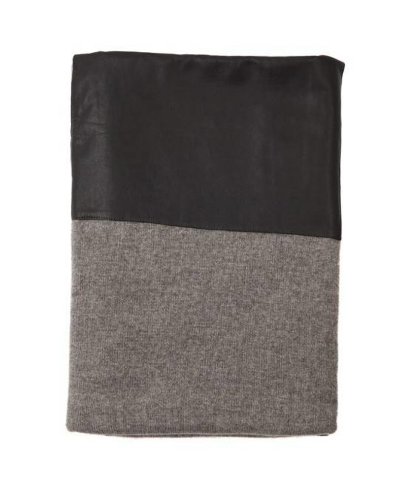 "PISA CASHMERE LEATHER THROW: 50"" X 70"": GRAY"