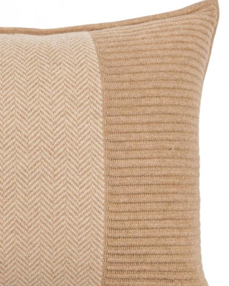 "OXFORD HERRINGBONE & RIBBED PILLOW : 16"" X 24"": CAMEL-IVORY"