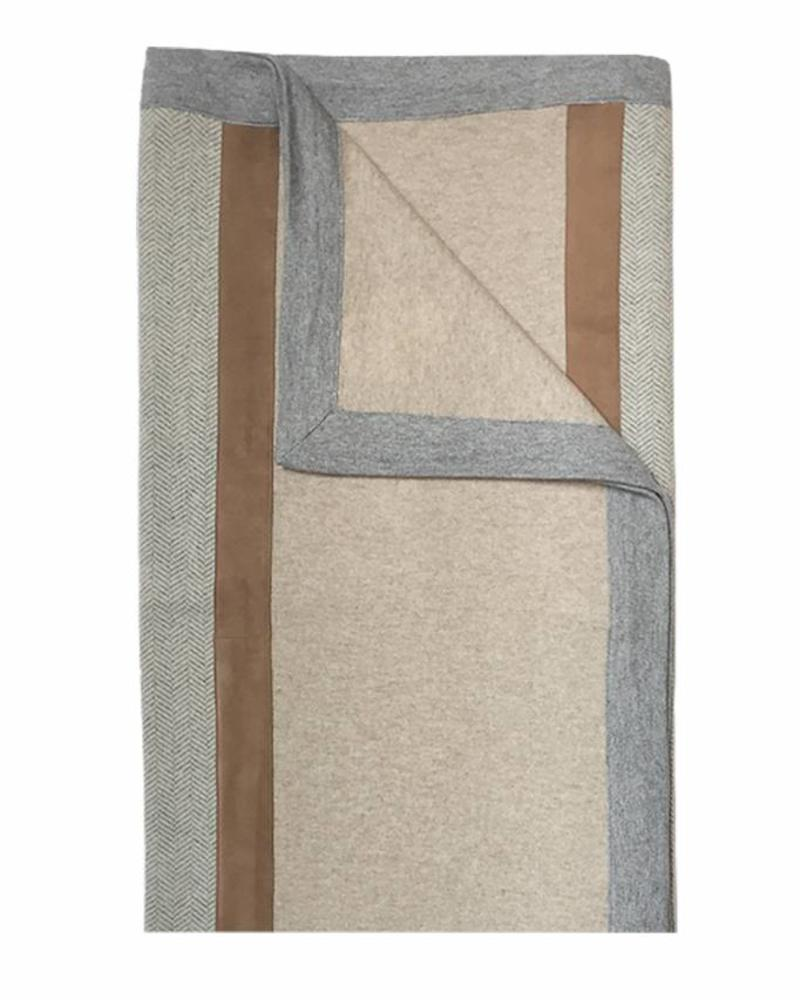 "LONDON CASHMERE THROW WITH SUEDE DETAIL: 52"" X 72"": SAND-GRAY"