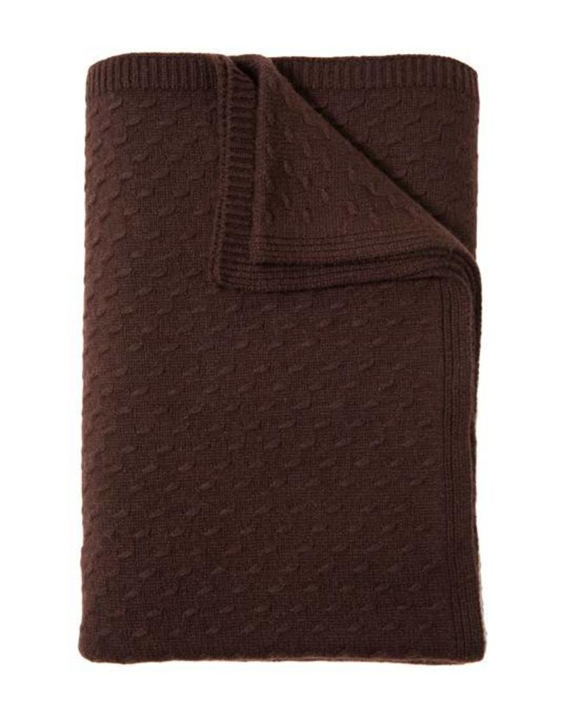 "FILETTO: 100% CASHMERE THROW: 52"" X 74"": CHOCOLATE"