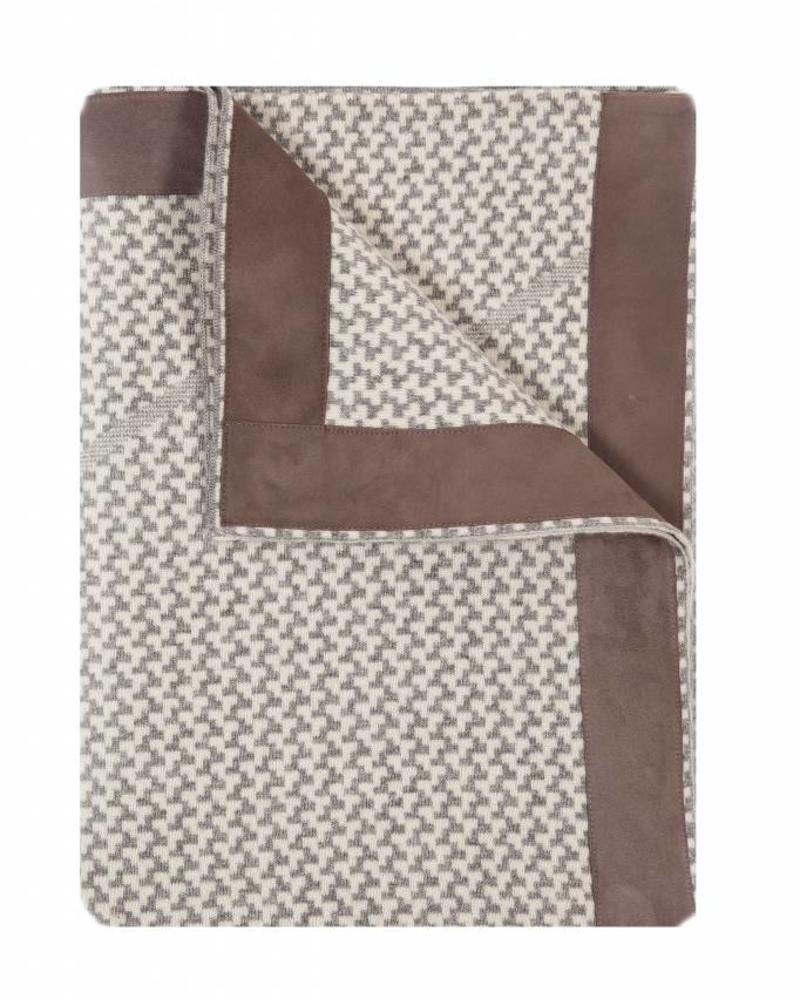"DENVER  CASHMERE JACQUARD THROW SUEDE BORDER: 52"" X 72"": GRAY-IVORY"