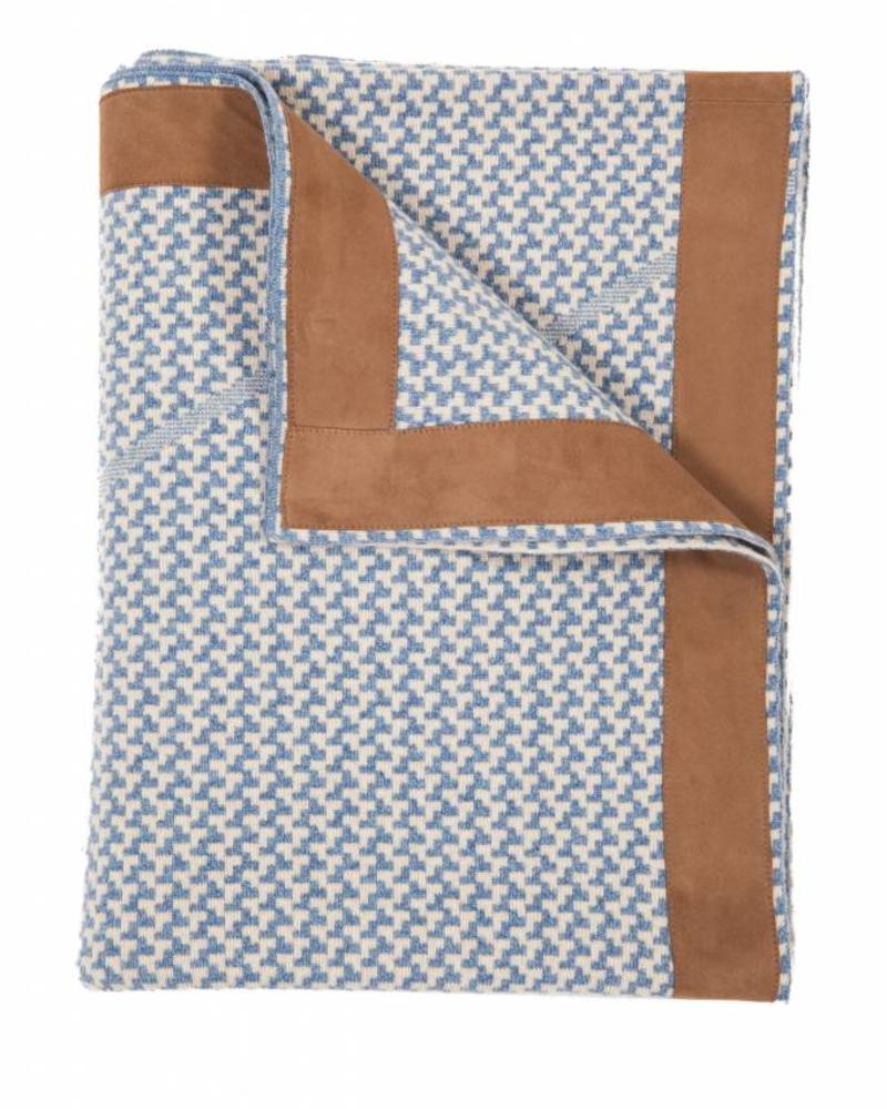 "DENVER CASHMERE JACQUARD THROW SUEDE BORDER: 52"" X 72"": DENIM-SAND"