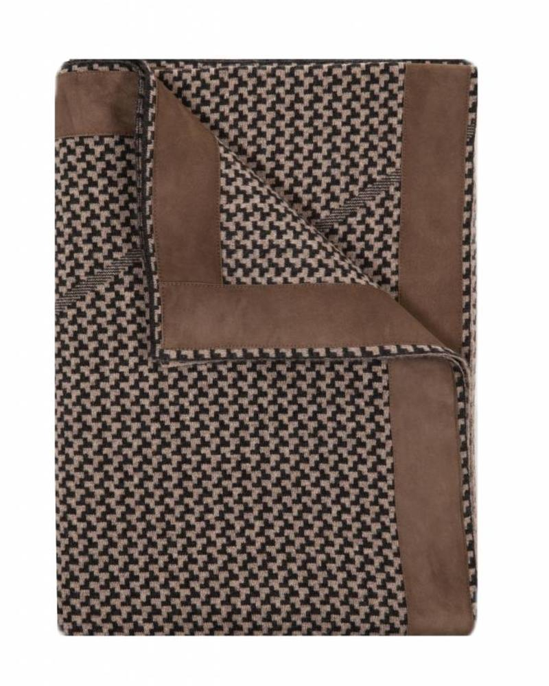 "DENVER CASHMERE JACQUARD THROW SUEDE BORDER: 52"" X 72"": COAL-TAUPE"