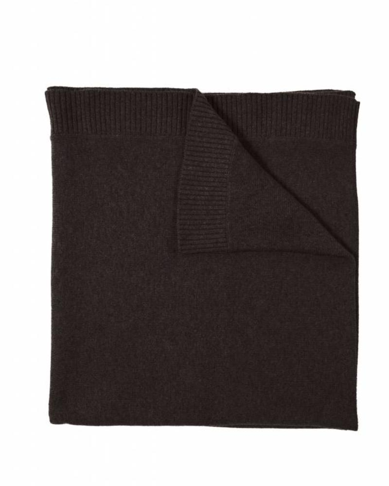"CAPRI CASHMERE RIBBED BORDER THROW: 42"" X 72"": CHOCOLATE"