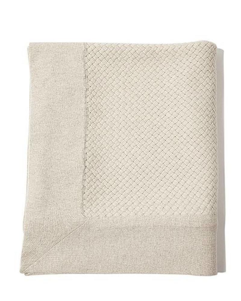 "DIAGONAL CRISS CROSS THROW: 52"" X 72"": PEARL GRAY"