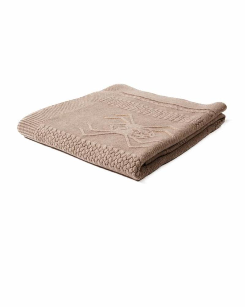 "CASHMERE INTARSIA SPIDER KNITTED THROW: 52"" X 72"": TAUPE"