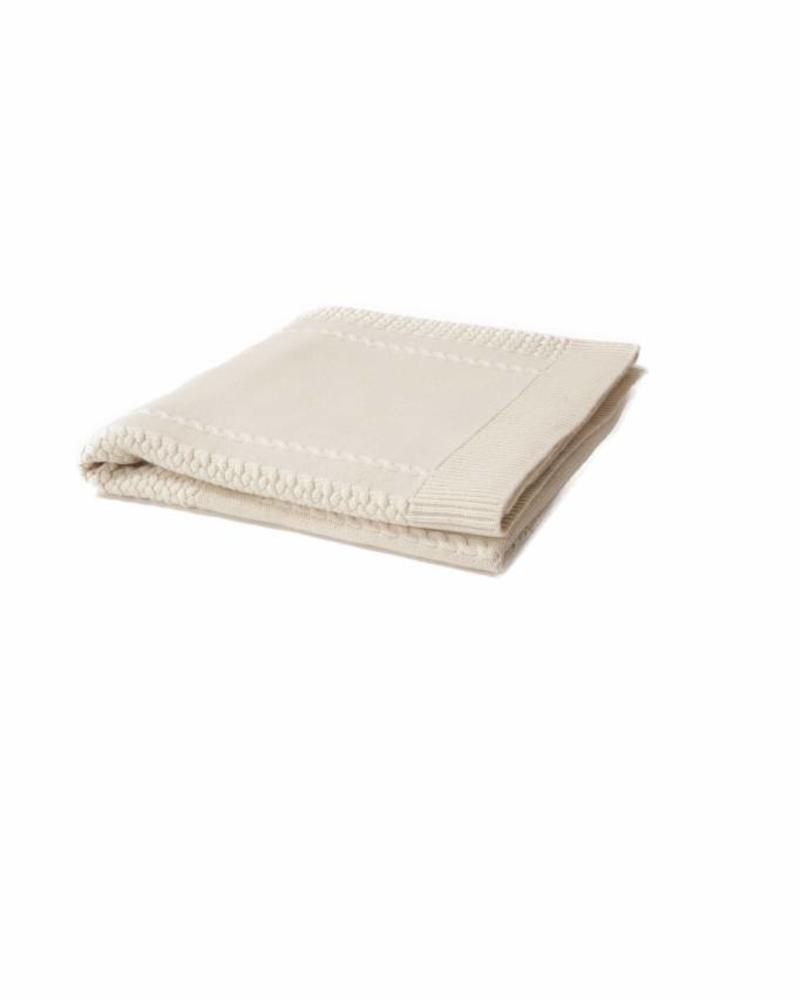 "CASHMERE INTARSIA SPIDER KNITTED THROW: 52"" X 72"": IVORY"