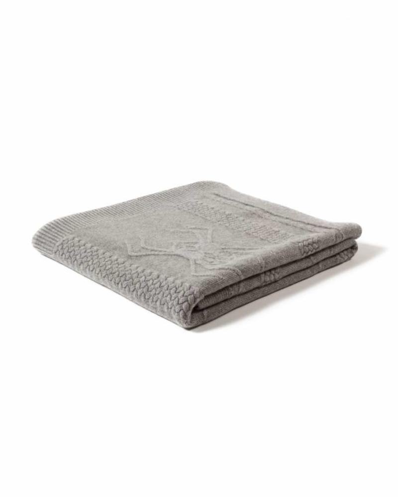 "CASHMERE INTARSIA SPIDER KNITTED THROW: 52"" X 72"": GRAY"