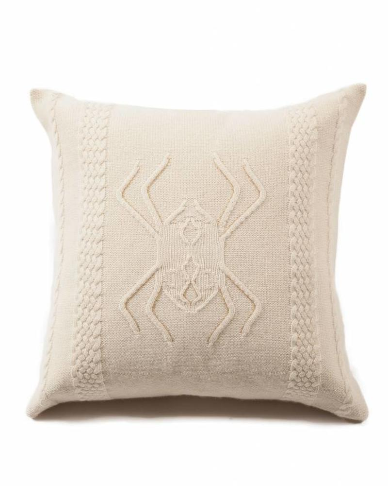 "CASHMERE INTARSIA SPIDER KNITTED PILLOW: 21"" X 21"": IVORY"