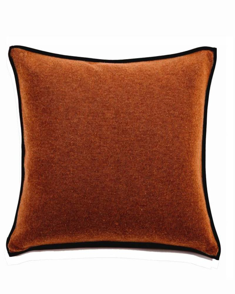 "PORTOFINO CASHMERE BLEND PILLOW WITH ULTRA-SUEDE BORDER: 21""X 21"": BURNT"
