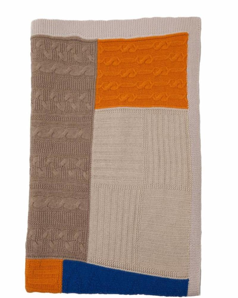 "ASSISI PATCHWORK THROW: 52"" X 75"": ORANGE TONES"