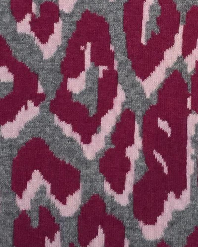 "CASHMERE BLEND LEOPARD THROW WITH SUEDE BORDER: 52"" X 75"": PINK"
