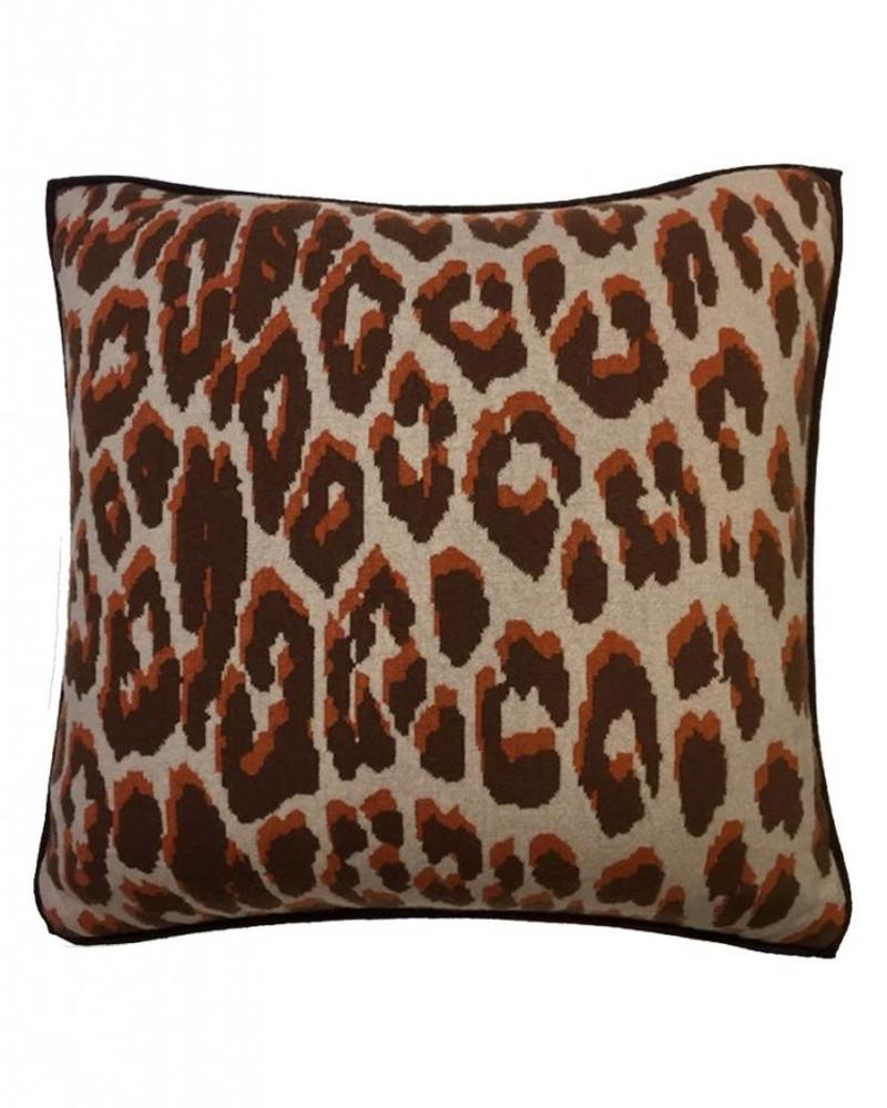 "KNITTED LEOPARD PILLOW: 21"" X 21"": TERRA"