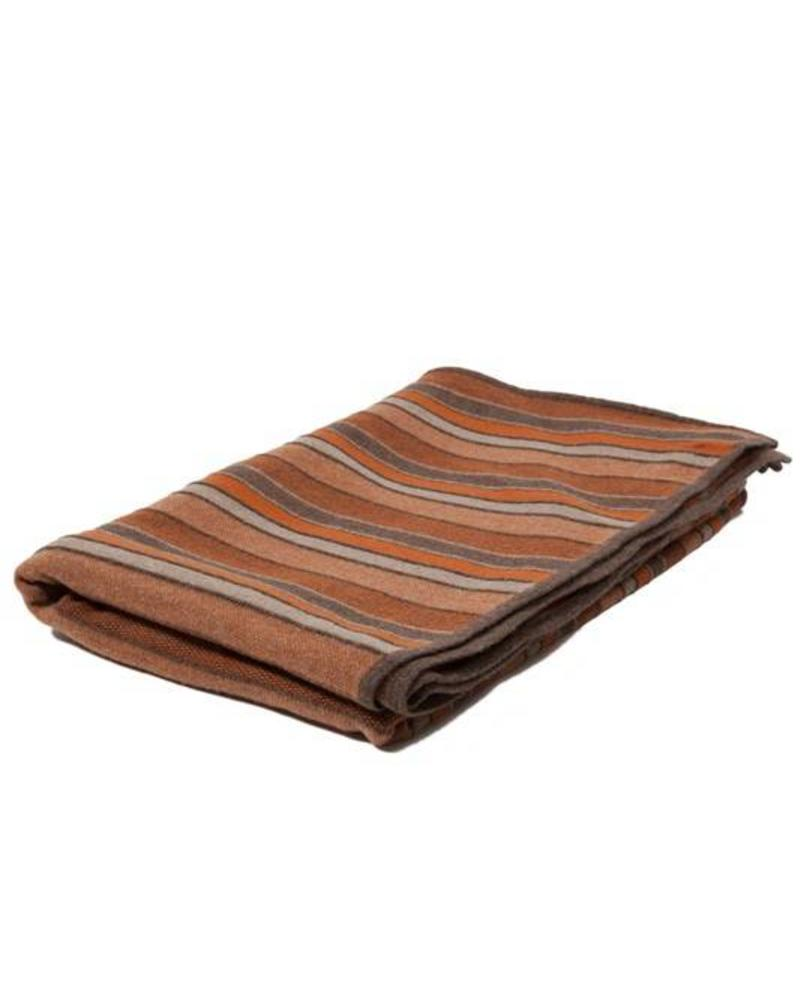 "CASHMERE BLEND STRIPES THROW: 52"" X 75"": BROWN-BURNT-TAUPE"