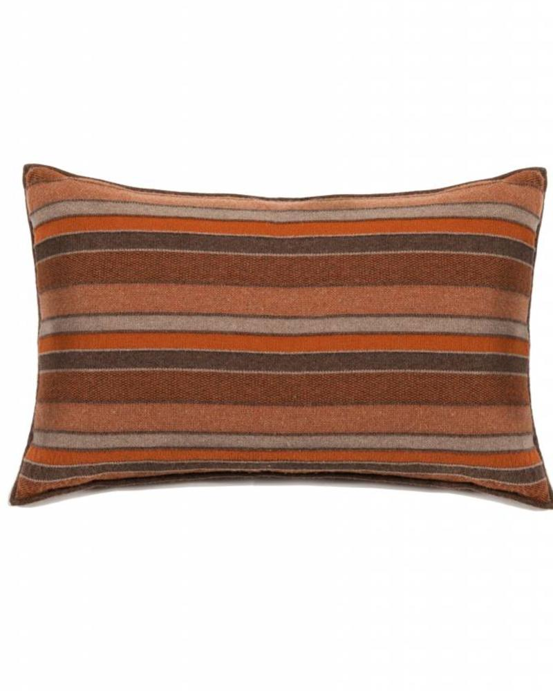 "CASHMERE BLEND STRIPES PILLOW: 16"" X 24"": BROWN-BURNT-TAUPE"