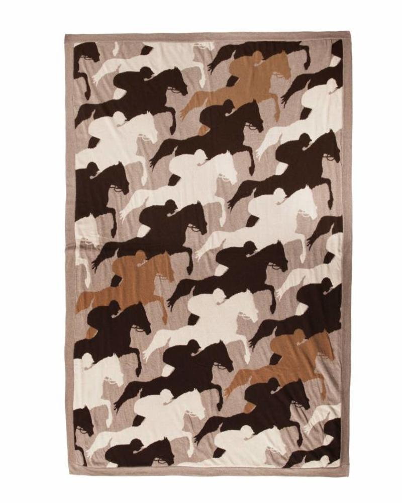 """CANTERING HORSE THROW: 52"""" X 75"""": SAND-CHOCOLATE-TAUPE"""
