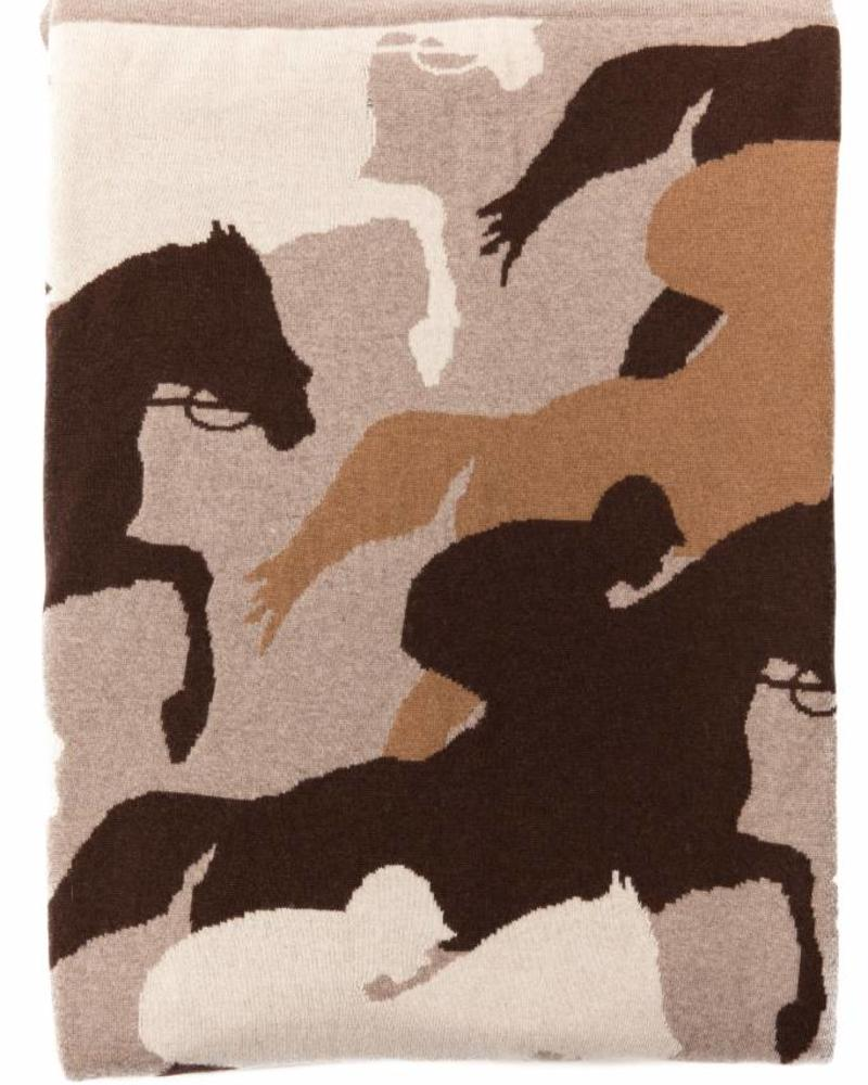 "CANTERING HORSE THROW: 52"" X 75"": SAND-CHOCOLATE-TAUPE"