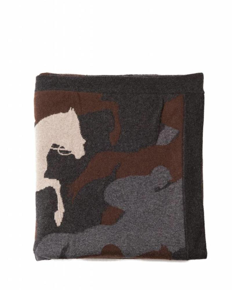 "CANTERING HORSE THROW: 52"" X 75"": ANTHRACITE-CHOCOLATE-TAUPE"