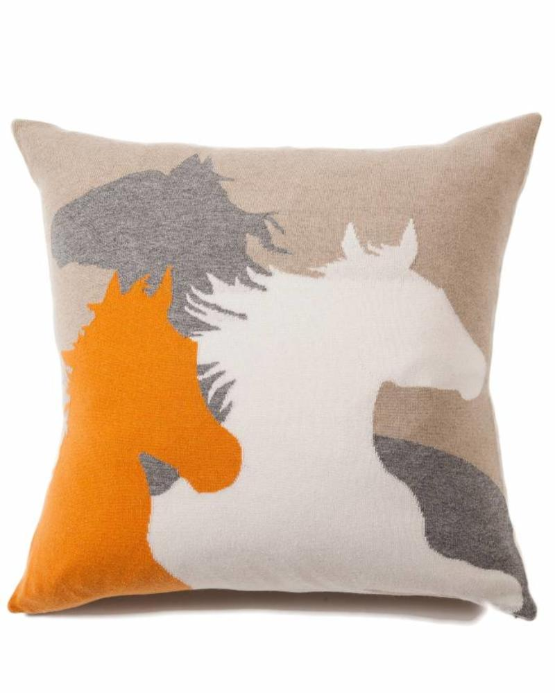 "HORSE PILLOW: 24"" X 24"": ORANGE-BEIGE-IVORY-GRAY"