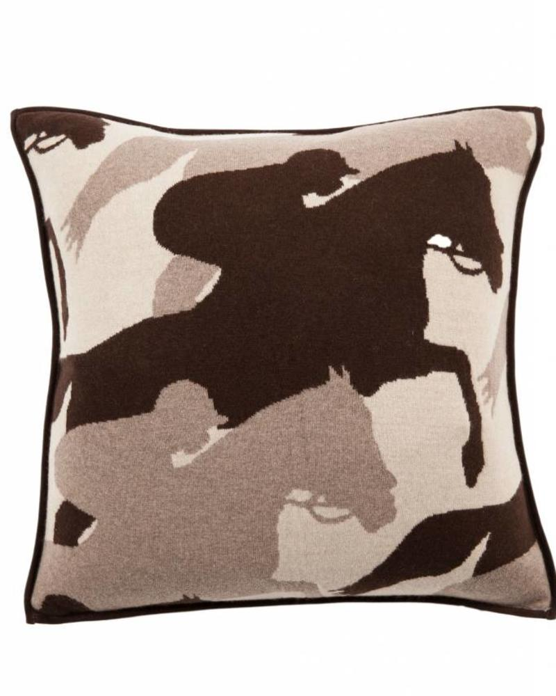 "KNITTED CANTERING HORSE PILLOW WITH SUEDE: 21"" X 21"": SAND-TAUPE-CHOCOLATE"