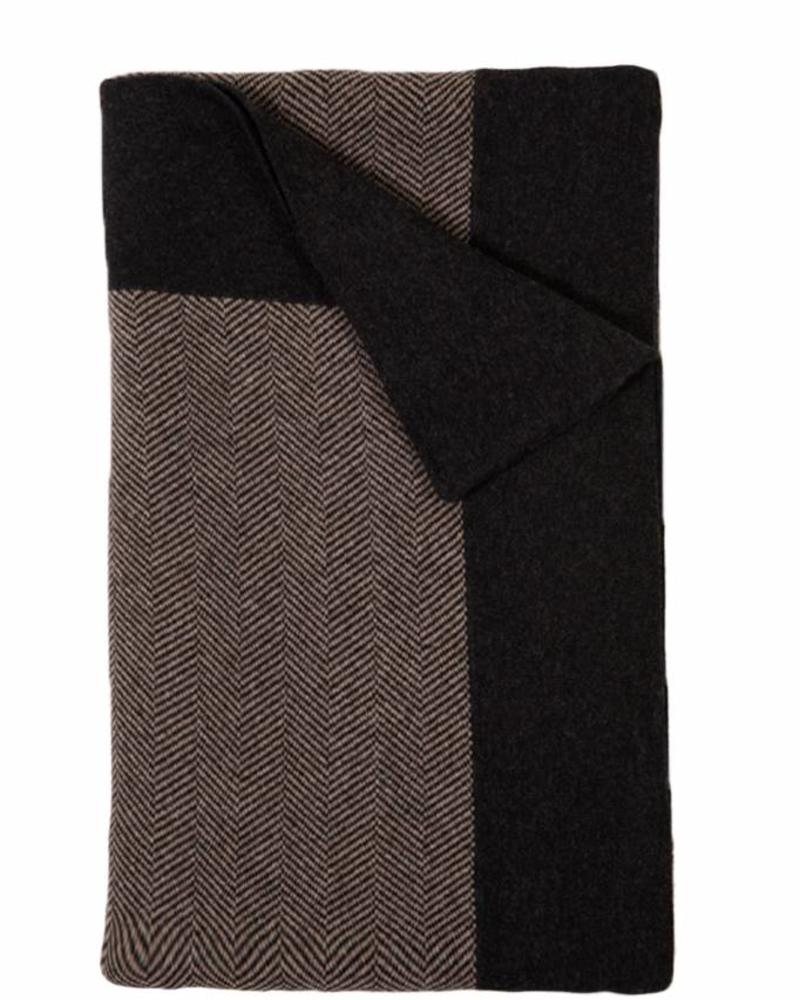 "HENRY CASHMERE BLEND HERRINGBONE THROW: 52"" X 72"": ANTHRACITE-TAUPE"