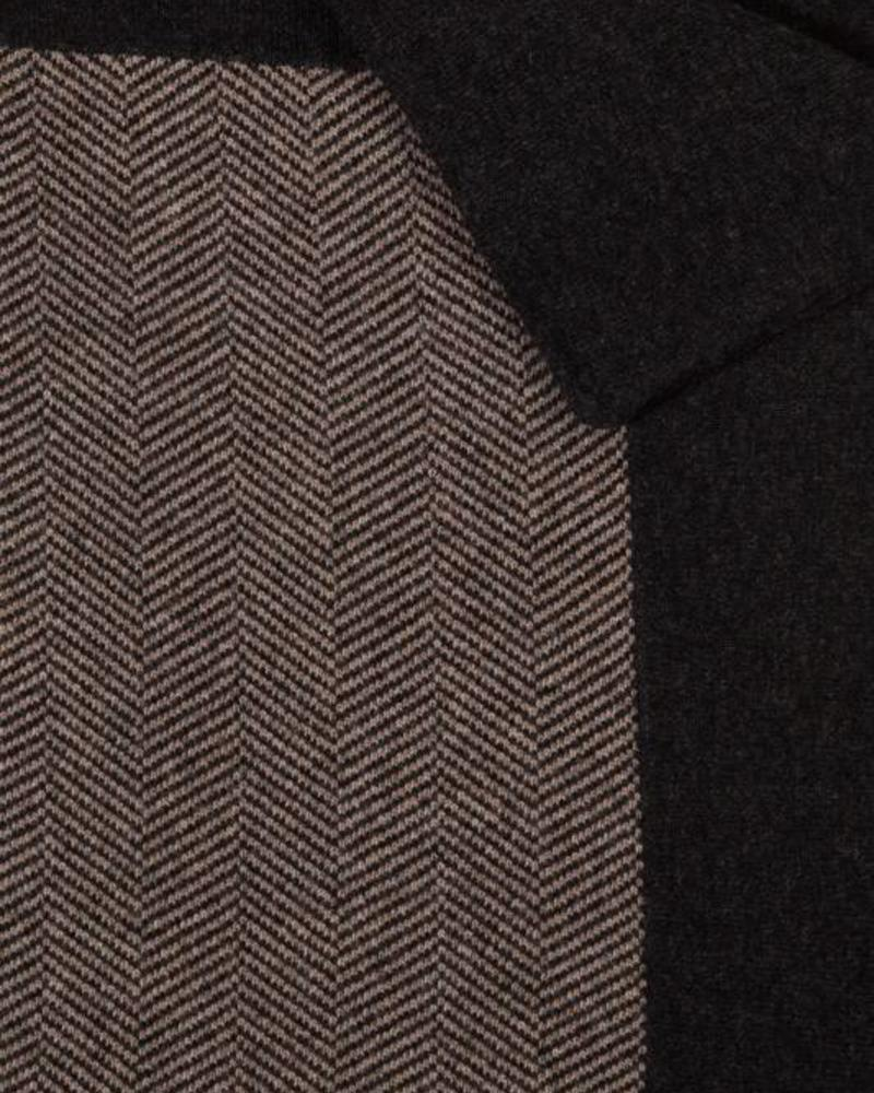 """HENRY CASHMERE BLEND HERRINGBONE THROW: 52"""" X 72"""": ANTHRACITE-TAUPE"""