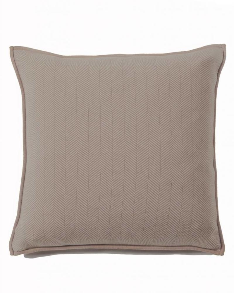"HENRY CASHMERE BLEND HERRINGBONE PILLOW: 21"" X 21'': DARK TAUPE-IVORY"
