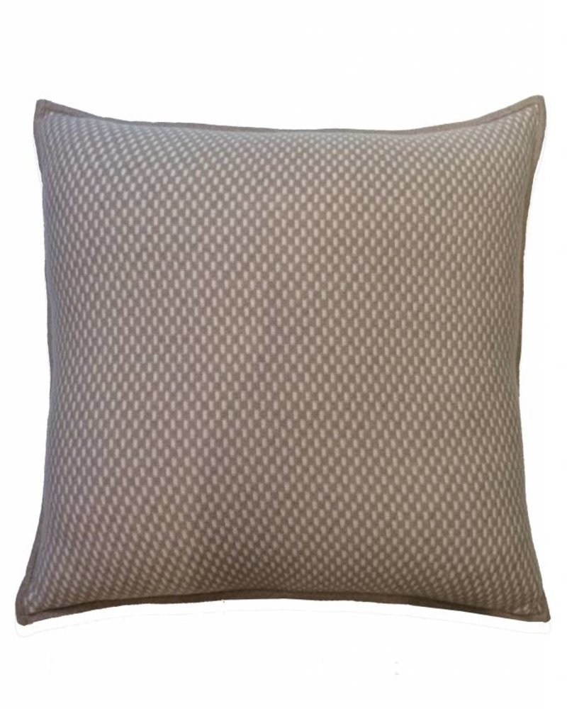 "CASHMERE BLEND INTRICATE KNIT PILLOW: 21"" X 21"": SAND-IVORY"